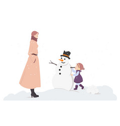 little girl makes snowman with mother on white vector image