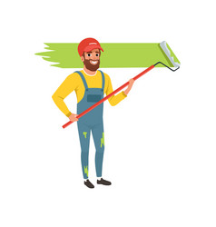 male painter in uniform painting the wall with vector image