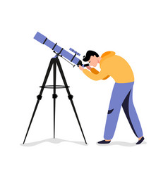 Man with telescope in search a star vector