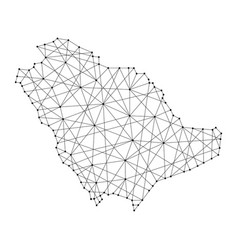 Map of saudi arabia from polygonal black lines vector