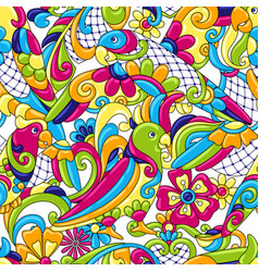 Mexican talavera ceramic tile pattern with vector
