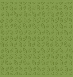 monochrome green pattern with hand drawn leaves vector image