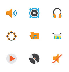 Music flat icons set collection of rhythm quiet vector