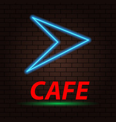 neon arrow and the inscription cafe on a brick vector image