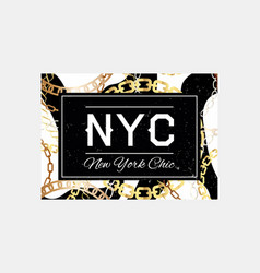 nyc slogan typography on gold chain pattern vector image