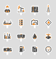 oil industry icons sticker set vector image