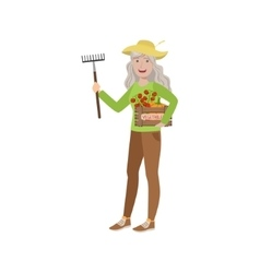 Old Woman With Rake And Crate Of Vegetables vector