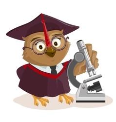Owl teacher and microscope vector image