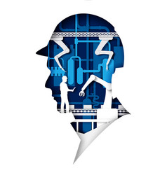 Paper cut worker head silhouette with conveyor vector