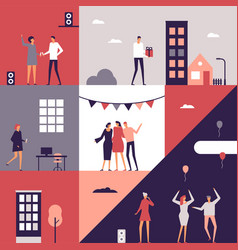 party - flat design style conceptual vector image