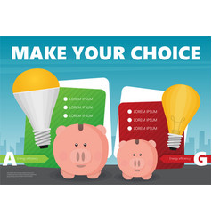 piggy bank and led light bulb flat infographic vector image