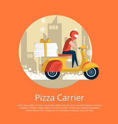 Pizza carrier service poster with courier vector