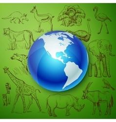 Planet and Hand drawn animal vector image