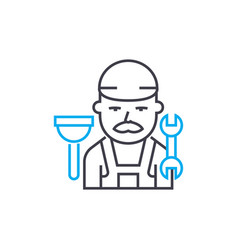 plumber thin line stroke icon plumber vector image