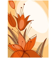 postcard with lilies vector image