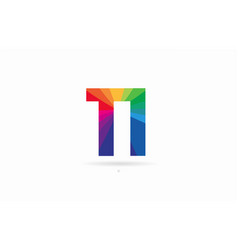 Rainbow colored alphabet combination letter ti t vector