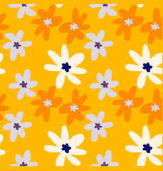 random seamless doodle pattern with chamomile vector image