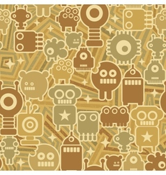 Retro seamless background with robots vector image