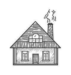Rural small house sketch vector