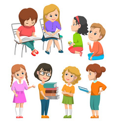 schoolkids with books and teacher on lesson vector image