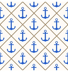 Seamless nautical pattern with blue anchors and ro vector image