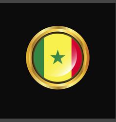 Senegal flag golden button vector