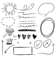 set doodle infographic elements black on white vector image