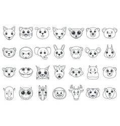 set line outline heads assorted wild and vector image