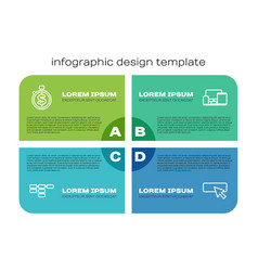 Set line site map time is money ui or ux design vector