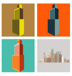 Set of skyscraper icon flat of skyscraper icon vector