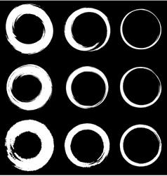 set white grunge circle stains vector image