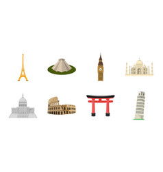 Sights of different countries icons in set vector