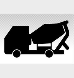 Silhouette concrete cement mixer truck flat vector