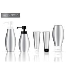 silver bottles set background vector image