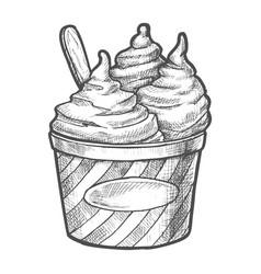 sketch soft ice cream in paper cup frozen dessert vector image