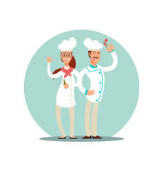 Smiling restaurant chefs professional cooks in vector