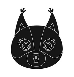 Squirrel muzzle icon in black style isolated on vector