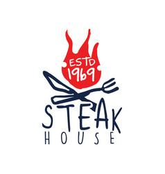 Steak house logo estd 1969 vintage label colorful vector