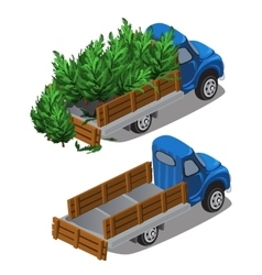 Truck delivers Christmas trees full car and empty vector image