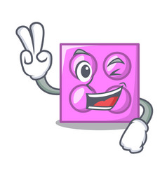 Two finger toy brick character cartoon vector