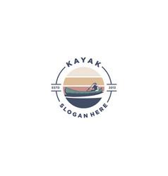vintage kayak logo vector image