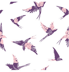 Vintage pattern with little swallows vector