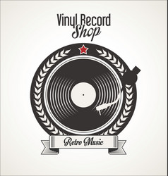 Vinyl record retro vintage laurel wreath badge 3 vector