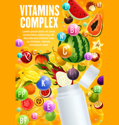 vitamins complex in tropical fruits and berries vector image