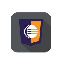 Web development shield sign - code editor vector