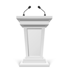 white podium with microphone or pulpit with mic vector image