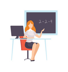 woman teacher character sitting in front of school vector image