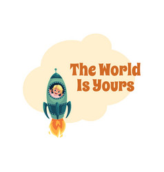 world is yours postcard banner poster little vector image