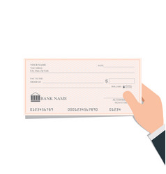 businessman holding blank bank checks or cheque vector image vector image