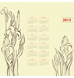 Calendar for 2013 with Iris flowers vector image